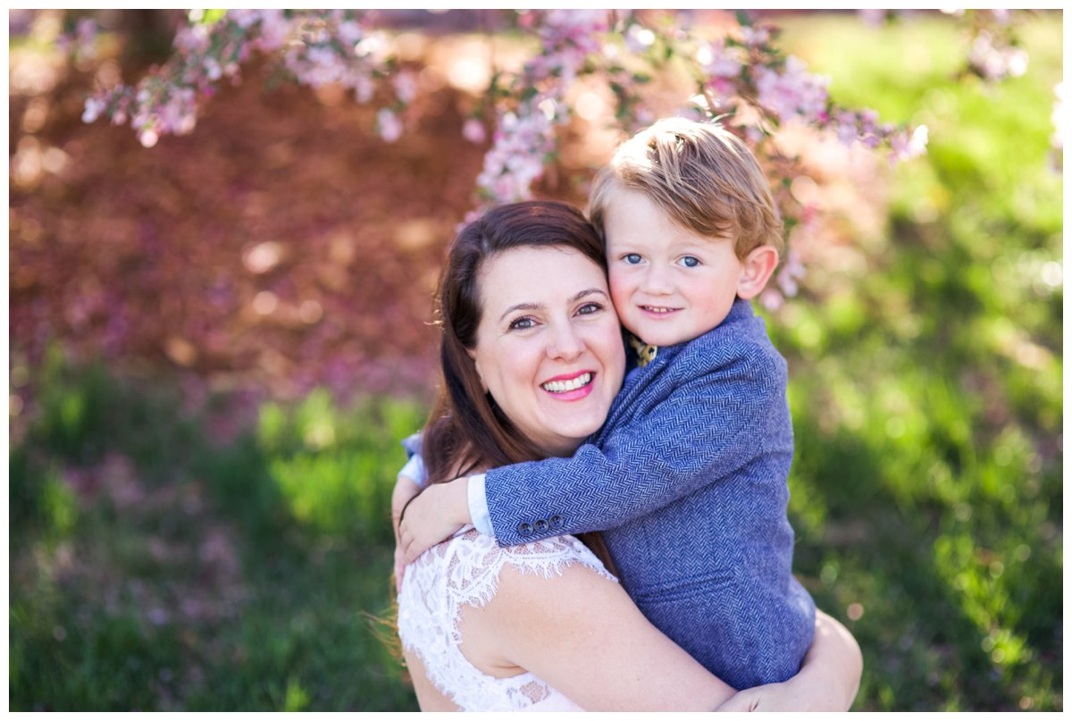 Mother and Son Cherry Blossom portrait in Bend OR.