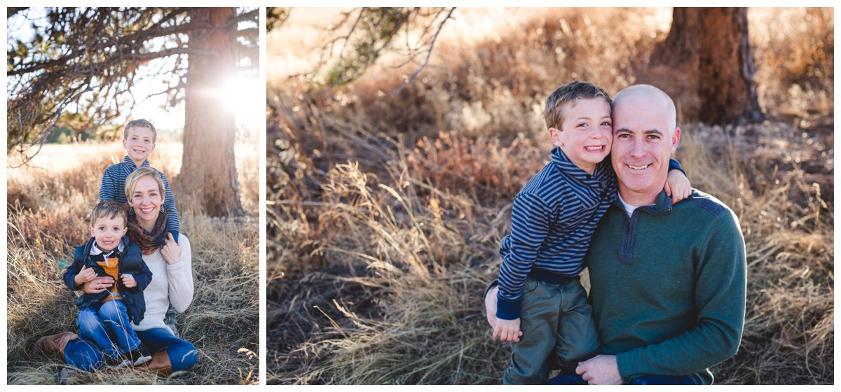 Mom with Sons at outdoor family photography session in Bend, OR