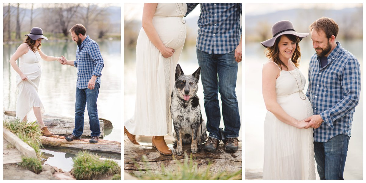 Mother, Father & Dog family photo for maternity photo session in Bend.
